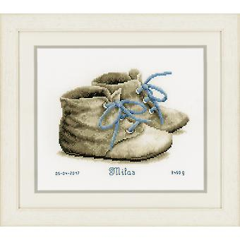 Vervaco Counted Cross Stitch Kit: Birth Record: Baby Shoes