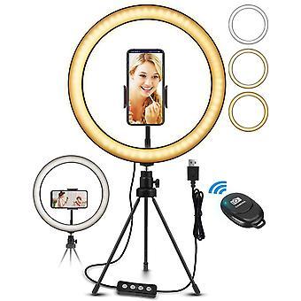 "FengChun LED Ringlicht Stativ 10,2"" Selfie Ringleuchte Make-up dimmbar 3 Lichtfarben+11"