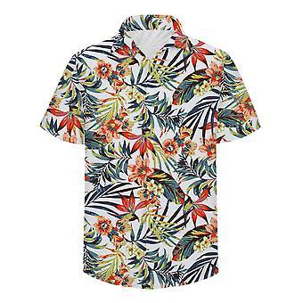 Allthemen الرجال هاواي قصيرة الأكمام شاطئ قميص مصنع طباعة