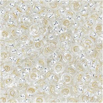Toho Demi Pyöreät siemenet, Ohut 8/0 (3mm), 7,4 grammaa, #PF21 PermaFinish hopea vuorattu kristalli