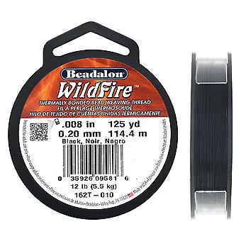 Löpeld termisk bondad pärltråd, .008 tum tjock, 125 meter, svart