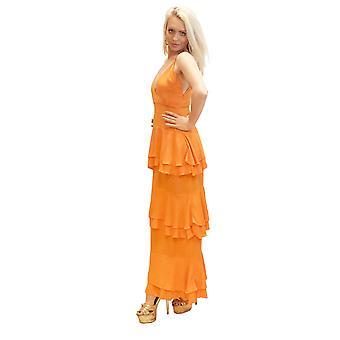 Abito donna a più livelli Donna Estate Occasionwear Spaghetti Strap Deep V Neck Maxi Abito Arancione