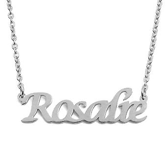 """L Rosalie - Adjustable necklace with custom name, silver tonalit, 16""""- 19"""