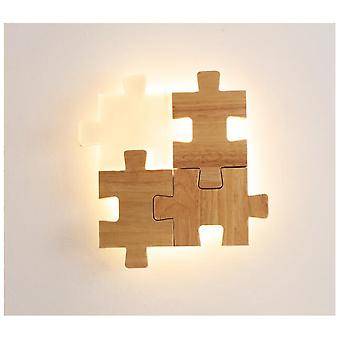 Children's puzzle wall lamp, Promise remote original wood color 220V bedside log wall lamp, suitable