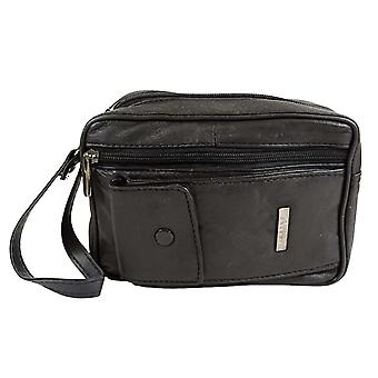 Soft Leather Bag with Wrist Strap and Multiple Pockets