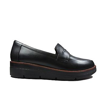 Clarks Shaylin Step Black Leather Womens Loafer Shoes