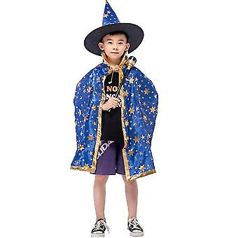 Wizard Cape Witch Cloak With Hat, Halloween Costume For Kids Cosplay Party(Blue)