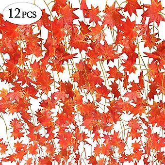 Fall Wreath, 12 Strands (90 Feet) Artificial Maple Leaves Red Maple Vine Ivy Greenery Fall Leaves Wreath