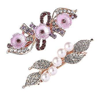 Decorative Durable Pearl Flower Hairpins 2pcs
