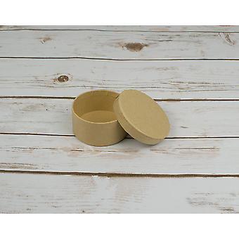 7.5 cm ronde papier mache vak met deksel te versieren | Papier mache dozen