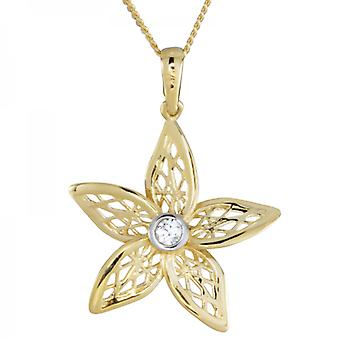 Shipton and Co Ladies Shipton And Co 9ct Yellow Gold And Cubic Zirconia Centre Filigree Flower Pendant Including A 16 9ct Chain TEM041CZ