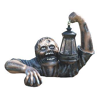 Tuin Zombie met Lantaarn Hars Zombie Tuin Beelden Halloween Horror Sculptuur voor Outdoor Patio Yard Lawn