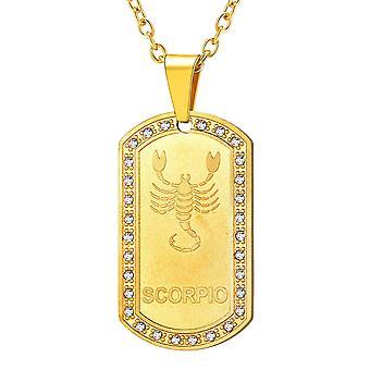 (Scorpio-Gold)  Personalized Constellation Horoscope Jewelry Platinum/Stainless Steel/18K Gold