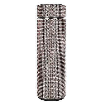 زجاجات المياه الإبداعية الماس بلينغ الفولاذ المقاوم للصدأ زجاجة مياه الترمس مع عرض درجة الحرارة الذكية 500