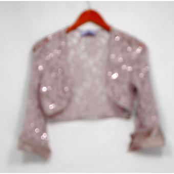 JS Collection Basic Jacke Verzierte Spitze Offene Front Lila