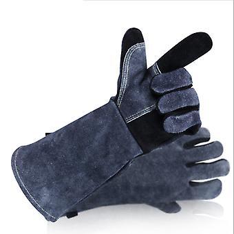 Bbq rukavice Dvouvrstvé tepelně odolné trouby Rukavice žáruvzdorné hliníkové grilovací rukavice, mikrovlnné trouby rukavice, šedo-černá 14 palcový
