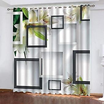 寝室とリビングルーム2モダン3D幾何学的なリリープリントカーテン140x260cmのための断熱遮光カーテン