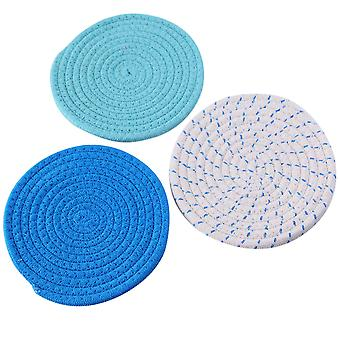 Swotgdoby Round Braided Insulation Mat Set, Washable Round Placemats