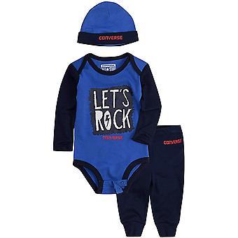 Keskustella All Star Let's Rock lapsen vauvan lasten hattu Body Pant asettaa sininen