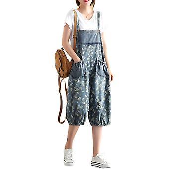 Woman Oversize Bib Overalls Printed Demin Pants