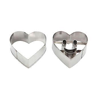 Swift smiley face Heart forma cookie tăietori, set de 2