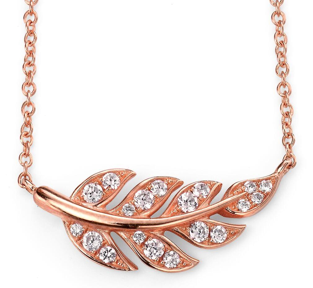 925 Silver Rose Gold Plated Flower And Zirconium Necklace Trend