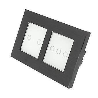 I LumoS Black Brushed Aluminium Double Frame 5 Gang 2 Way Touch LED Light Switch White Insert
