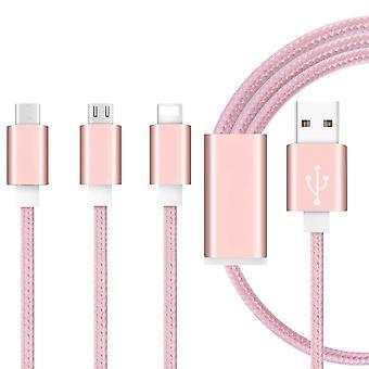 (oro rosa) 1 metro longitud 3 en 1 cable de datos múltiples con tipo C / iluminación de 8 pines / conector micro USB para ZTE Blade A430