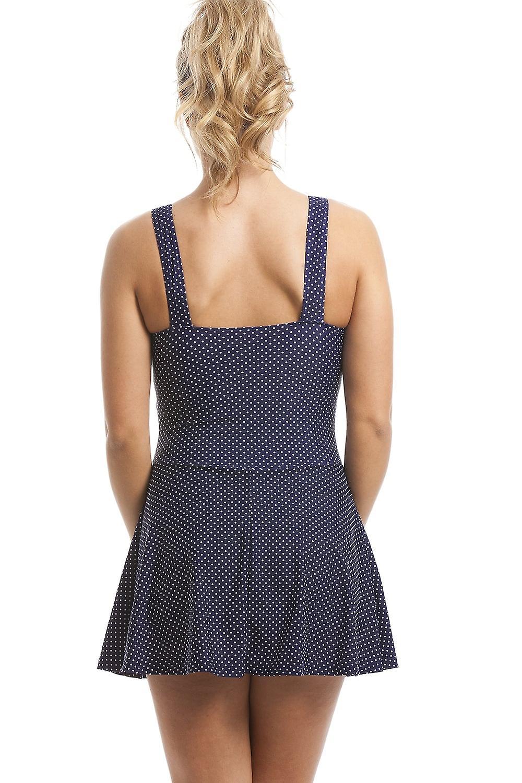 Camille Stylish Figure Flattering Navy Polka Dot Skirted Swimsuit
