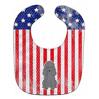 Carolines Treasures  BB3063BIB Patriotic USA Poodle Silver Baby Bib
