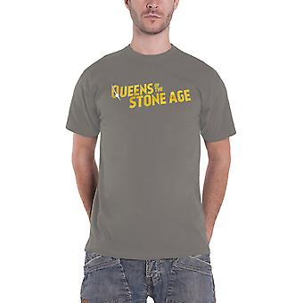 Queens Of The Stone Age T Shirt Text band Logo new Official Mens Charcoal
