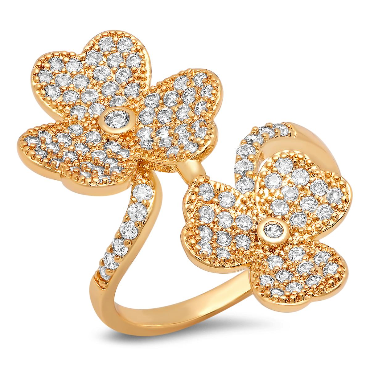 Ladies 18K Gold Plated Brass Simulated Diamond Clover Ring