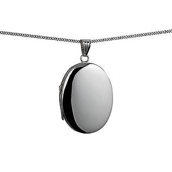 35x26mm Oval schlicht 4 Foto Familie Medaillon mit einem Bordstein Kette 24 Zoll Silber
