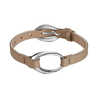 ESPRIT women's leather bracelet stainless steel ovality Shelly taupe ESBR11423B200