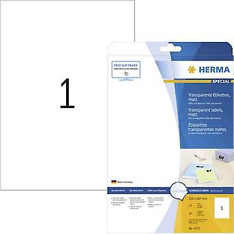 Herma 4375 Labels 210 x 297 mm Polyester film Transparent 25 pc(s) Permanent All-purpose labels, Weatherproof labels