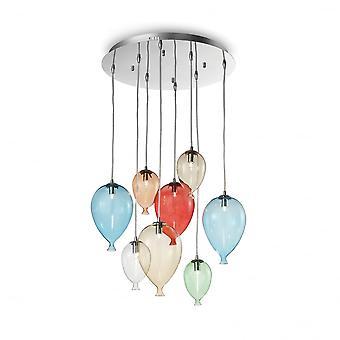 Ideal Lux Clown 8 bolla vetro colorato lampadario in vetro