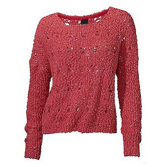 B.c. connections coarse mesh knit sweater in coral with sequins