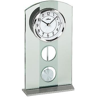 3120 table clock quartz with pendulum silver modern Atlanta with glass pendulum clock