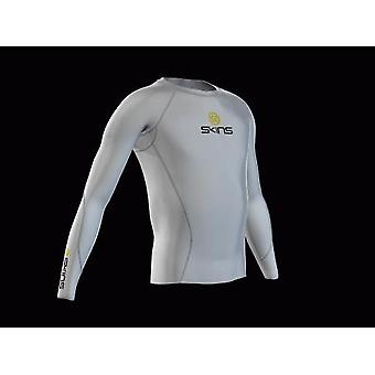 SKINS Youth Unisex Bio Compression Long Sleeve Top white with grey stitching - B12005005