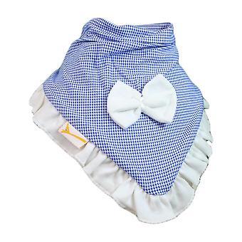 Blå & vit gingham cutie krage bandana bib