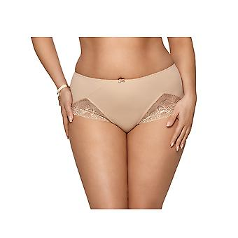 Gorsenia K426 Women's Casablanca Beige Solid Colour Lace Knickers Panty Full Brief
