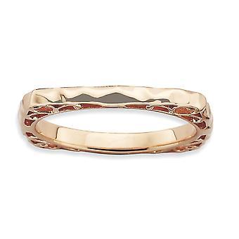 2.25 mm 925 מכסף סטרלינג ביטויים מלוטש צלחת ורוד מרובע טבעת מתנות לנשים-גודל טבעת: 5