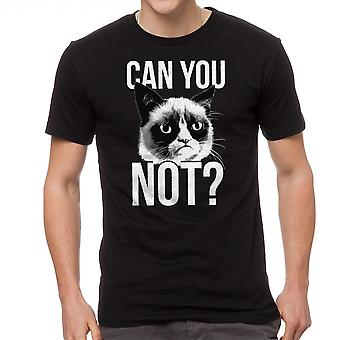 Grumpy Cat Can You Not Men's Black Funny T-shirt