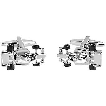 Zennor Racing Car Cufflinks - Silver/Black
