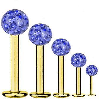 Bar di Labret Piercing oro placcato titanio 1, 2mm, Multi cristallo sfera blu zaffiro | 5-12 mm