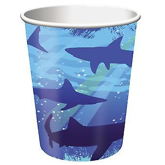 Partido del tiburón de tiburón tazas 266 ml cartón 8 pedazo tiburón tiburón cumpleaños decoración del partido
