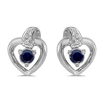 LXR 14k White Gold Round Sapphire and Diamond Heart Earrings 0.18