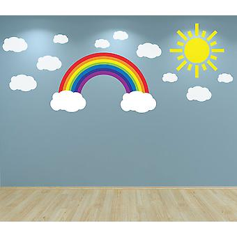 Full Colour Rainbow Clouds and Sun Wall Sticker