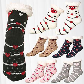 Womens 1 Pair Thermo Socks Fully Lined Anti Slip ABS Sole Nubs Fur Warm Knitwear