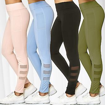 Women's Mesh Tights Pockets Bags Sport Pants Stretch Fitness Trousers Activewear